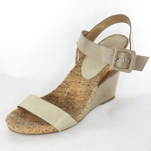 BCBGeneration Nude Leather, Cork Wedge Sandals